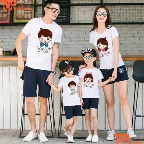 áo gia đình 4 người in họa tiết hoạt hình