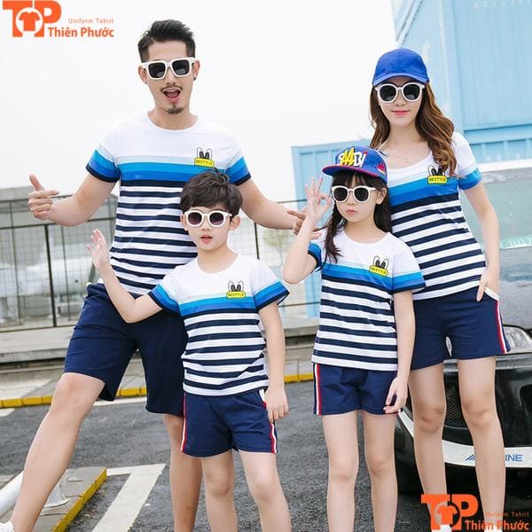 áo gia đình 4 người kẻ sọc ngang