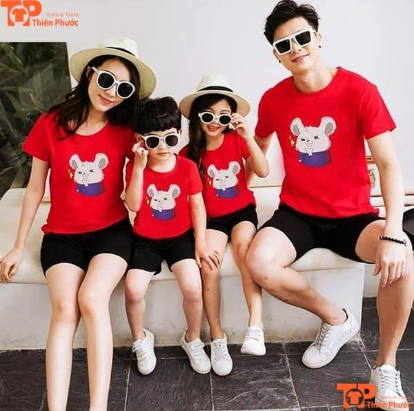 áo gia đình 4 người tay ngắn màu đỏ