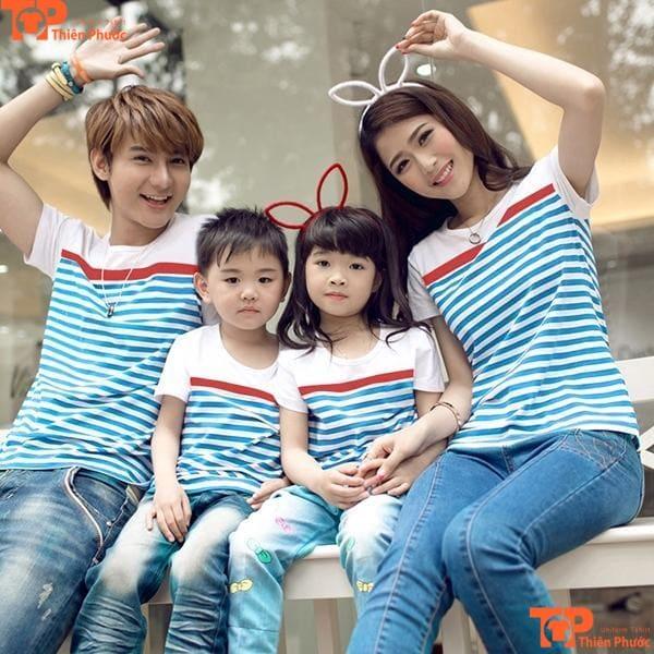 áo gia đình 4 người xanh sọc