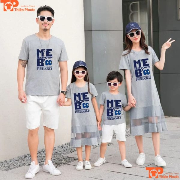 áo gia đình cổ tròn tay ngắn