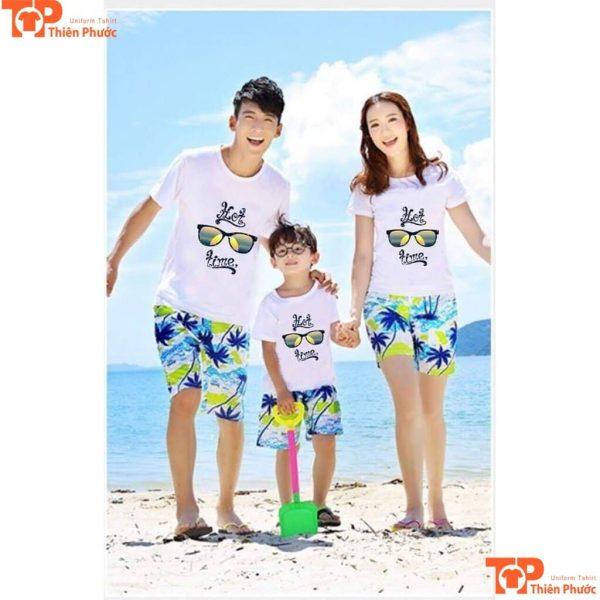 áo gia đình đi biển 3 người tay ngắn
