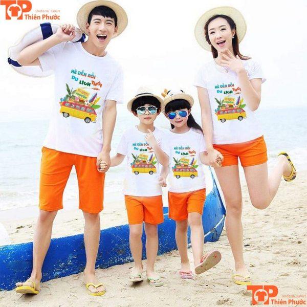 áo gia đình đi biển phối quần short cam
