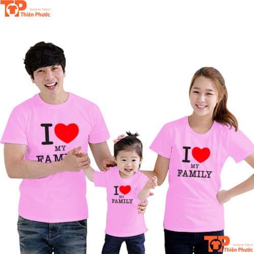 áo gia đình đi chơi 3 người màu hồng