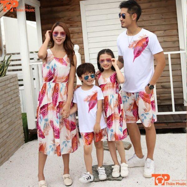 áo gia đình hàn quốc 4 người mùa hè