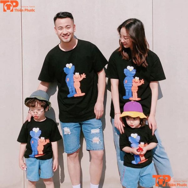 áo gia đình hàn quốc màu đen tay ngắn