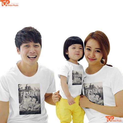 áo gia đình in họa tiết đẹp cho 3 người