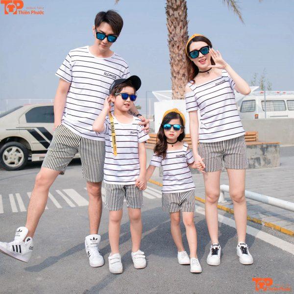 áo gia đình kẻ ngang