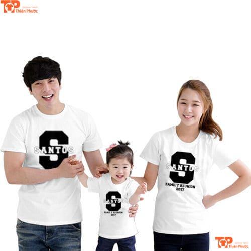 áo gia đình màu trắng tay ngắn 3 người