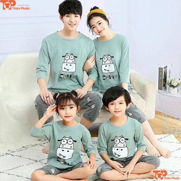 áo gia đình pijama nhiều màu