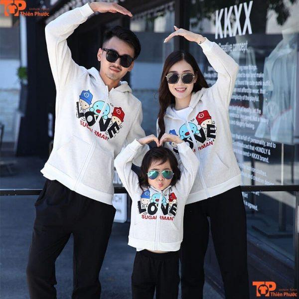 áo gia đình tay dài 3 người mùa đông