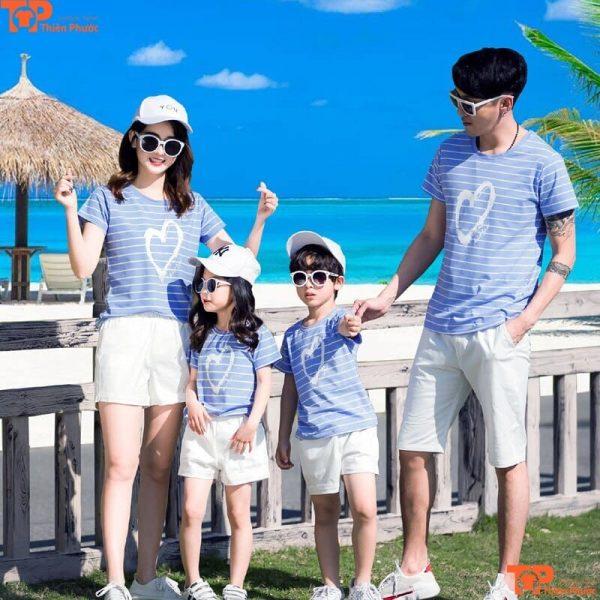 áo gia đình xanh da trời kết hợp nón kết
