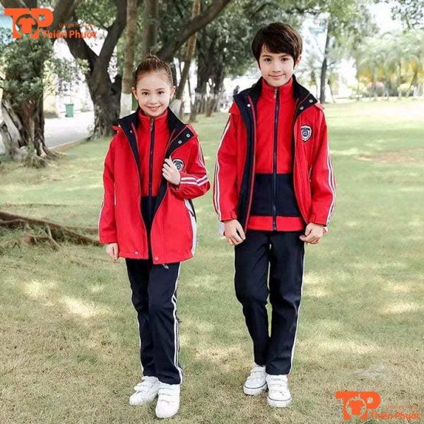 áo khoác đồng phục học sinh mầm non tay dài màu đỏ