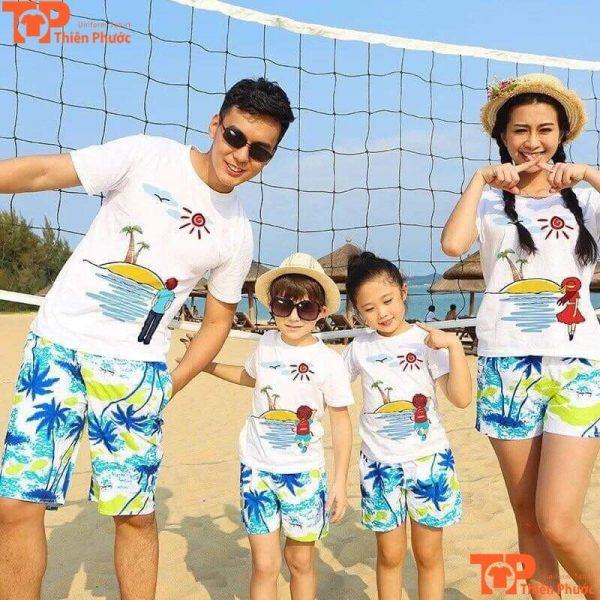 áo phông đồng phục gia đình đi biển đẹp