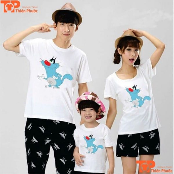 áo phông gia đình cổ tròn 3 người