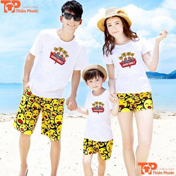 áo phông gia đình đi biển 3 người đẹp