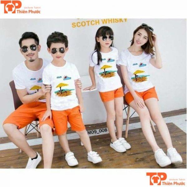 áo phông gia đình đi biển 4 người giá rẻ