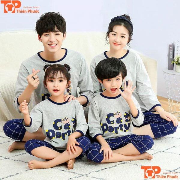 áo pijama gia đình tay dài cổ tròn