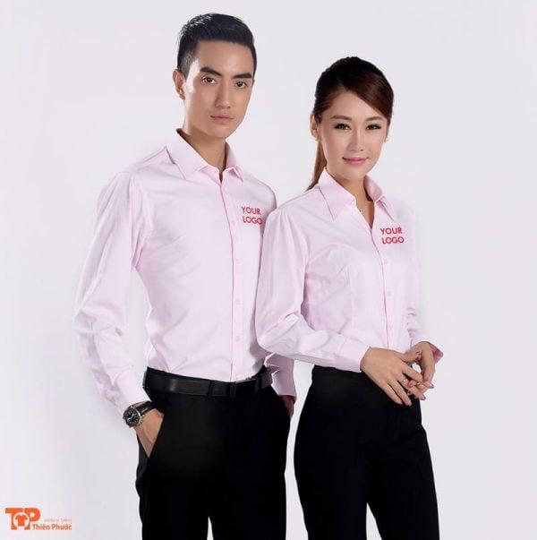 áo sơ mi doanh nghiệp công ty màu hồng