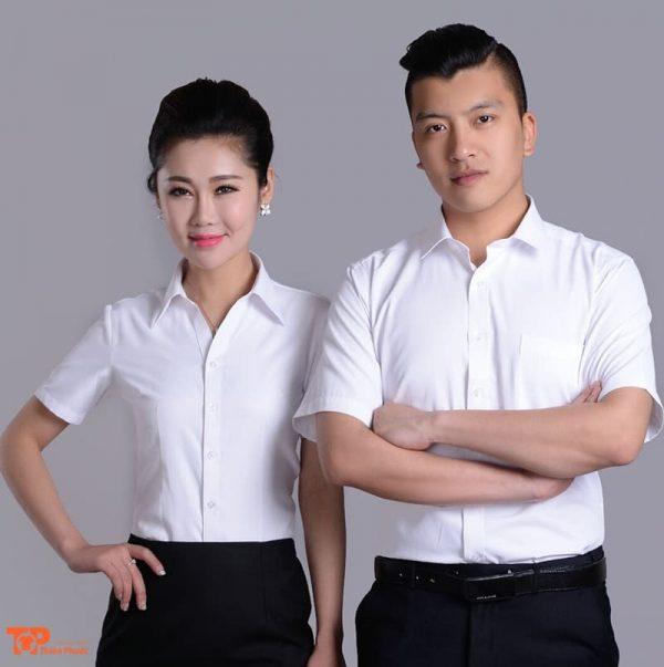 áo sơ mi đồng phục công ty doanh nghiệp màu trắng