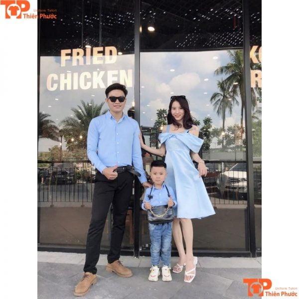 áo sơ mi gia đình 3 người thiết kế đẹp