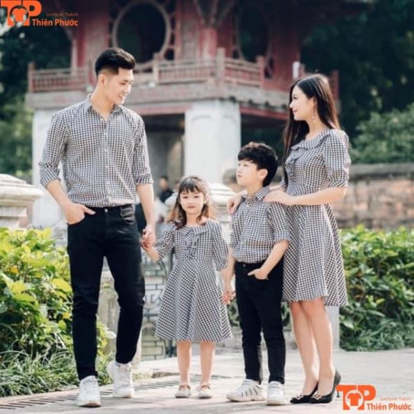 áo sơ mi gia đình 4 người đẹp