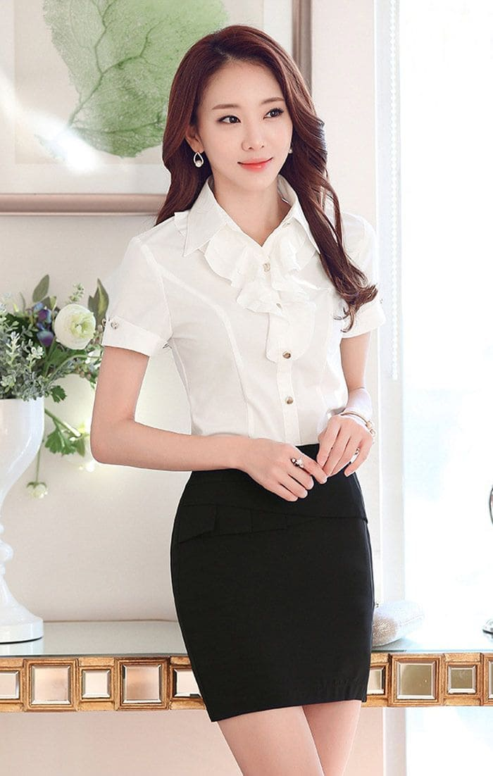 áo sơ mi ngắn cộc tay đồng phục văn phòng nữ