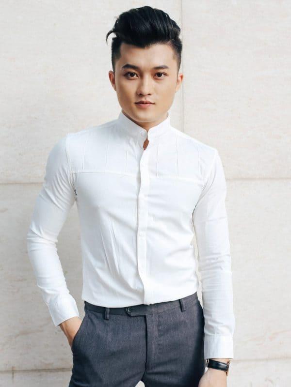 áo sơ mi công sở nam cổ trụ tay dài màu trắng