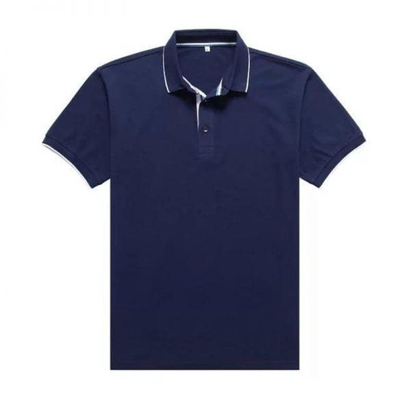 áo thun công sở có cổ xanh dương đậm