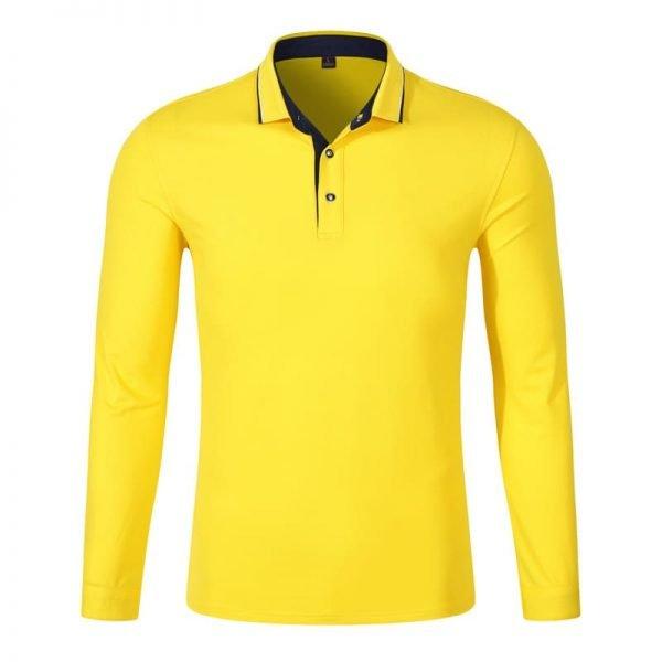 áo thun nhân viên công sở có gập tay dài màu vàng