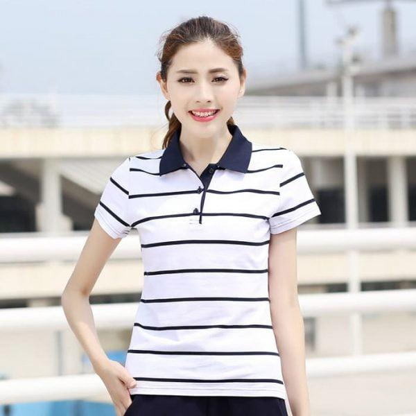 áo thun đồng phục công sở nữ kẻ sọc tay ngắn