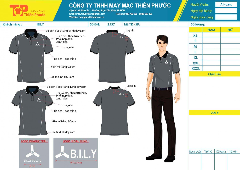 mẫu thiết kế áo thun đồng phục công ty billy