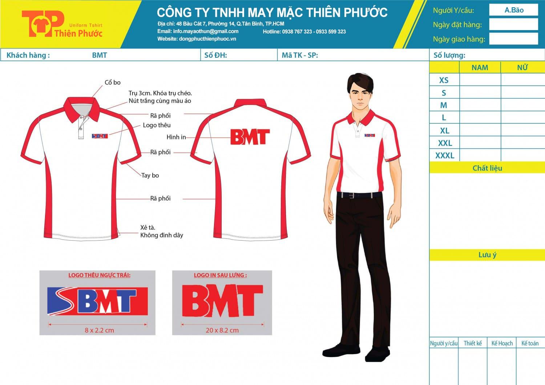 mẫu thiết kế áo thun đồng phục công ty bmt