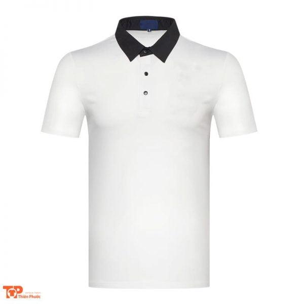 áo thun đồng phục công ty cổ trụ màu trắng