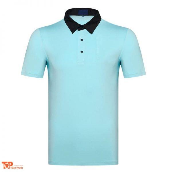 áo thun đồng phục công ty cổ trụ màu xanh