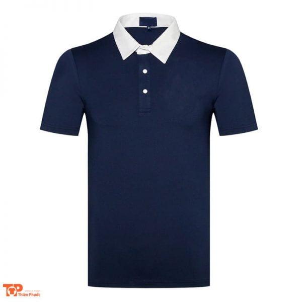 áo thun đồng phục công ty cổ trụ màu xanh dương