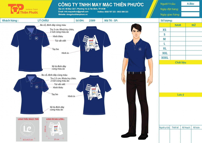 mẫu thiết kế áo thun đồng phục công ty LC