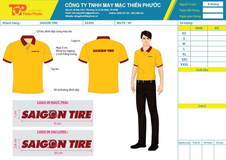 mẫu thiết kế áo thun đồng phục công ty saigon tire