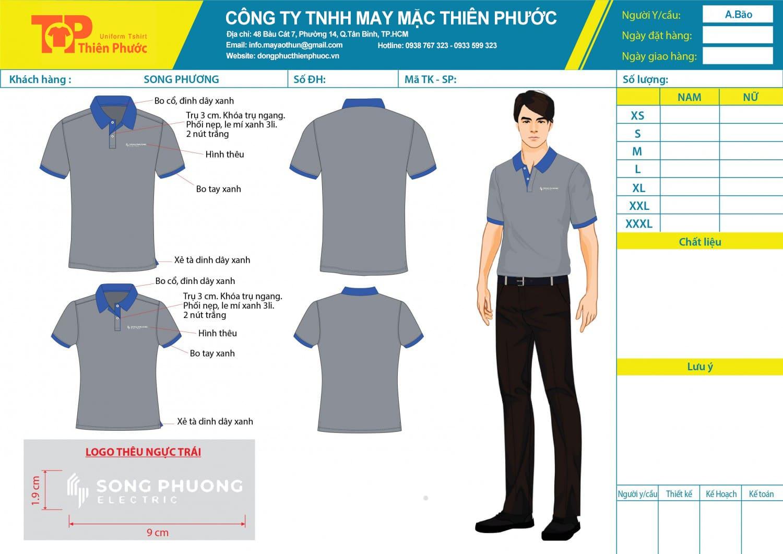 mẫu thiết kế áo thun đồng phục công ty sông phương
