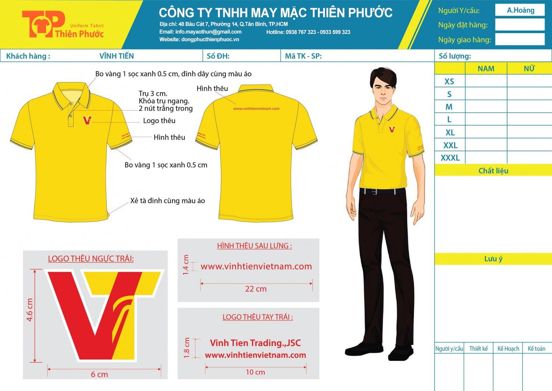 mẫu thiết kế áo thun đồng phục công ty vĩnh tiến