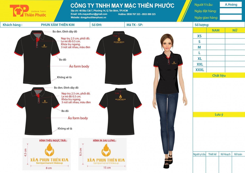 mẫu thiết kế áo thun đồng phục nữ công ty xăm phun thiên kim
