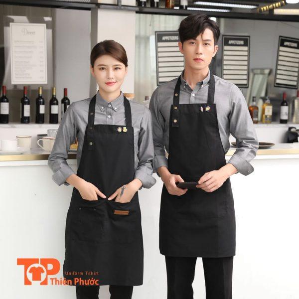 áo thun đồng phục quán cafe phối tạp dề đẹp