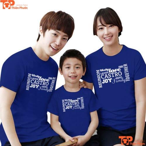 áo thun gia đình 3 người xanh dương