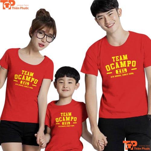áo thun gia đình 3 người màu đỏ rực rỡ