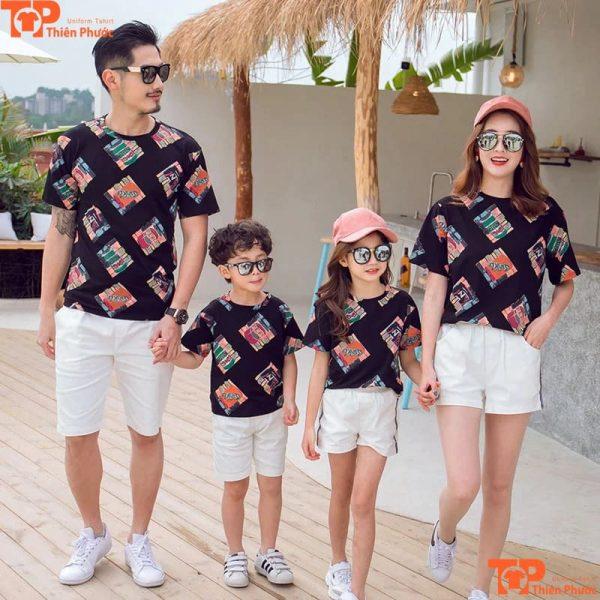 áo thun gia đình 4 người cổ tròn