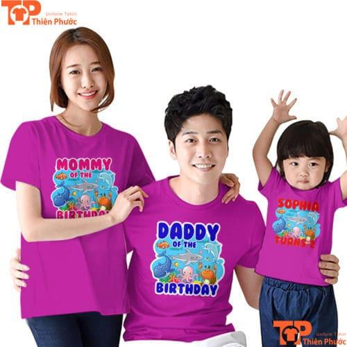 áo thun gia đình cổ tròn màu tím