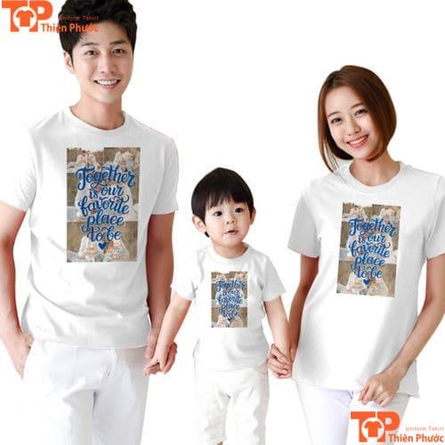 áo thun gia đình cổ tròn màu trắng