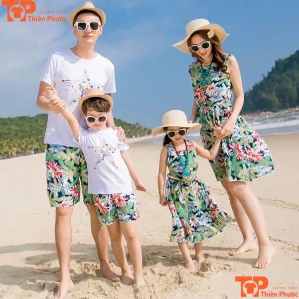 áo thun gia đình đi biển nhiều họa tiết