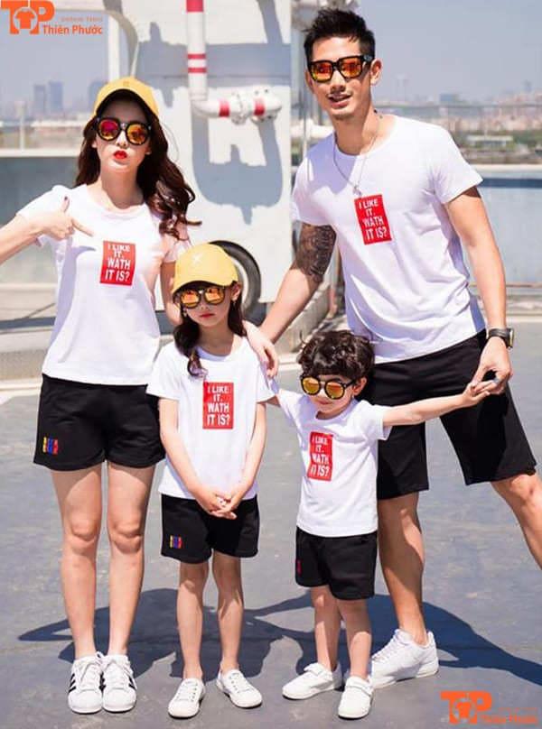áo thun gia đình đồng phục màu trắng