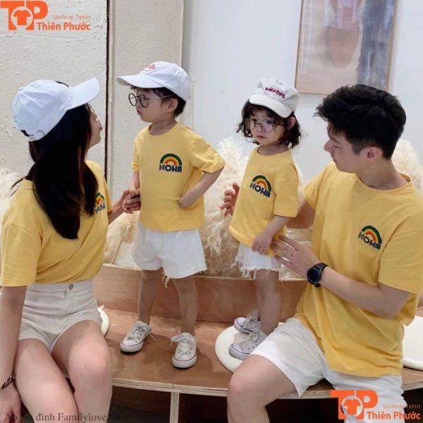 áo thun gia đình ngắn tay màu vàng